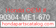Honda 90304-ME1-670 genuine part number image