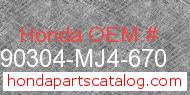 Honda 90304-MJ4-670 genuine part number image