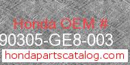 Honda 90305-GE8-003 genuine part number image