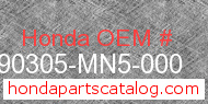 Honda 90305-MN5-000 genuine part number image