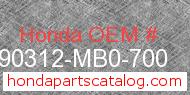 Honda 90312-MB0-700 genuine part number image
