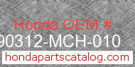 Honda 90312-MCH-010 genuine part number image