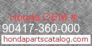 Honda 90417-360-000 genuine part number image