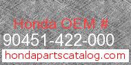 Honda 90451-422-000 genuine part number image