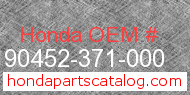 Honda 90452-371-000 genuine part number image