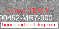 Honda 90452-MR7-000 genuine part number image