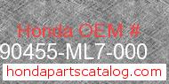 Honda 90455-ML7-000 genuine part number image