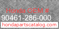 Honda 90461-286-000 genuine part number image