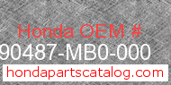 Honda 90487-MB0-000 genuine part number image