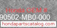 Honda 90502-MB0-000 genuine part number image