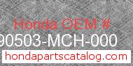 Honda 90503-MCH-000 genuine part number image