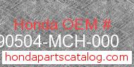 Honda 90504-MCH-000 genuine part number image