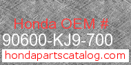 Honda 90600-KJ9-700 genuine part number image