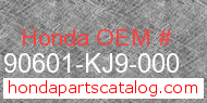 Honda 90601-KJ9-000 genuine part number image