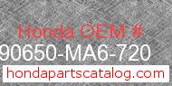 Honda 90650-MA6-720 genuine part number image