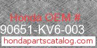 Honda 90651-KV6-003 genuine part number image