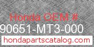 Honda 90651-MT3-000 genuine part number image