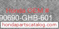 Honda 90690-GHB-601 genuine part number image