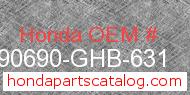 Honda 90690-GHB-631 genuine part number image