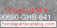 Honda 90690-GHB-641 genuine part number image
