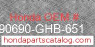 Honda 90690-GHB-651 genuine part number image