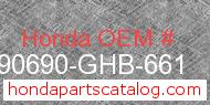 Honda 90690-GHB-661 genuine part number image