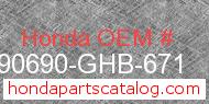 Honda 90690-GHB-671 genuine part number image