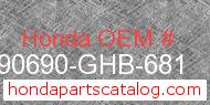 Honda 90690-GHB-681 genuine part number image