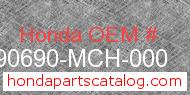 Honda 90690-MCH-000 genuine part number image