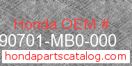 Honda 90701-MB0-000 genuine part number image