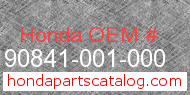 Honda 90841-001-000 genuine part number image