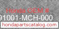 Honda 91001-MCH-000 genuine part number image