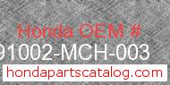 Honda 91002-MCH-003 genuine part number image