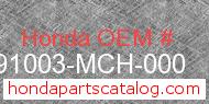 Honda 91003-MCH-000 genuine part number image