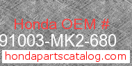 Honda 91003-MK2-680 genuine part number image