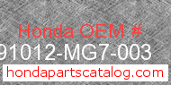 Honda 91012-MG7-003 genuine part number image