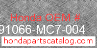 Honda 91066-MC7-004 genuine part number image