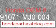 Honda 91071-MJ0-004 genuine part number image