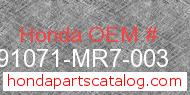Honda 91071-MR7-003 genuine part number image