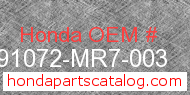 Honda 91072-MR7-003 genuine part number image