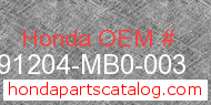Honda 91204-MB0-003 genuine part number image