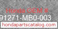 Honda 91271-MB0-003 genuine part number image