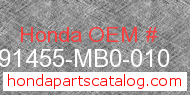 Honda 91455-MB0-010 genuine part number image