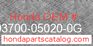 Honda 93700-05020-0G genuine part number image