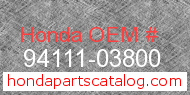 Honda 94111-03800 genuine part number image