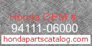 Honda 94111-06000 genuine part number image