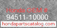 Honda 94511-10000 genuine part number image