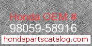 Honda 98059-58916 genuine part number image