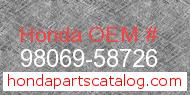 Honda 98069-58726 genuine part number image